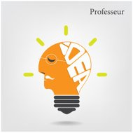 Professeur or scientist sign.Creative light bulb and education c
