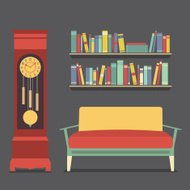 Living Room Interior Design Vector Illustration