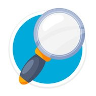 Vector Magnifier Flat Round Icon