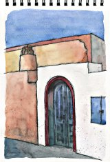 illustration freehand drawing of architecture in Santorini, Gree