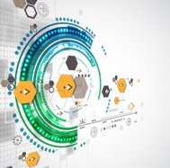 Abstract technological background with various elements