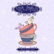 Tea party invitation card with cups and birds.