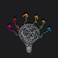 creative bulb sketch by pencil with colorful arrow design