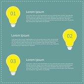 Three step business infographic with yellow light bulb. Idea concept.