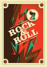 Illustrated rock and roll poster with abstraction.
