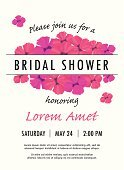 Bridal shower invitation template with delicate poppy buds and flowers