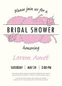 Bridal shower invitation template with mulberry leaves and berries vector
