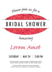 Bridal shower invitation with delicate poppy buds and flowers ve