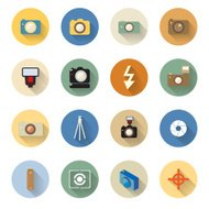 set of camera icons in flat design with long shadows