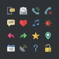 Web & Mobile icons set with Flat color style