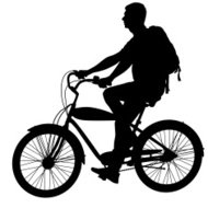 Silhouette of a cyclist male.