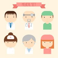 Set of flat colorful vector doctor icons. Medical people.