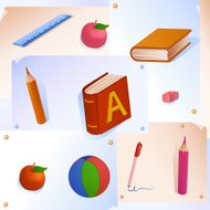 Childish colorful pattern with school Supplies