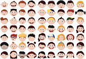 Set of cartoon children head