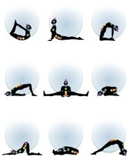 Backbends and forward bends yoga with chakras dots