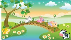 farm animals playing with beautiful scenery