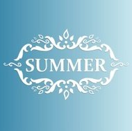 Summer Design with floral pattern on a blue background