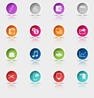 Colored set round web buttons icons element
