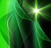 Realistic star burst with flare green background