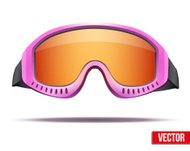 Female pink snowboard ski goggles with colorful glass. Vector