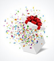 Open gift box with red bow and ribbon vector illustration