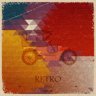 Abstract vintage background with retro automobile