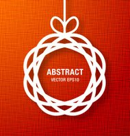 Abstract Circle Paper Applique on Red Canvas Background.