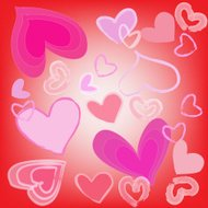 abstract magic colorful heart on red background