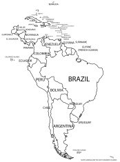 political south america map in black and white