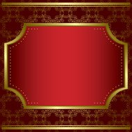 decorative card with center gold frame and gold texture - vector