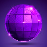 Bright textured plastic spherical object with flashes, pixilated
