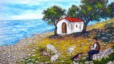 Oil painting on canvas-small chapel near rocky beachside