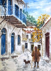 Oil painting on canvas-snowed village path