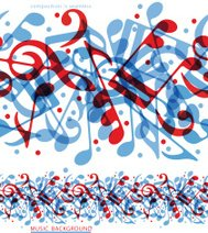 Vector colorful horizontal music canvas, seamless tape