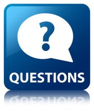 Questions glossy blue reflected square button