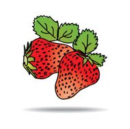 Freehand drawing strawberry icon