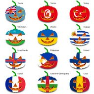 Set pumpkins for Halloween as a flags of the world.