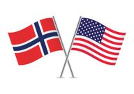 American and Norwegian flags. Vector.