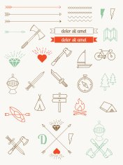 set of vector icons, items, badges hipster style. Vintage Bundle