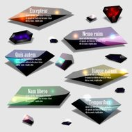 Abstract polygonal jewel bubble label banner set modern vector i