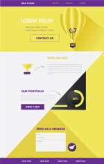 one page website layout template in flat design style