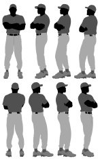 Baseball player in 360 degree pose