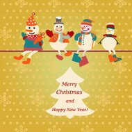 vector christmas card with Snowman-illustration