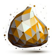 Gold and grey 3D vector abstract design object, deformed