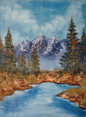 Oil painting on canvas- lake and mountains
