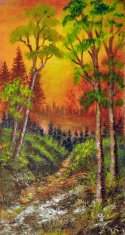 Oil painting on canvas- wood path to the lake