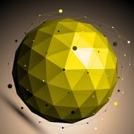 Gold abstract spherical vector object with lines mesh