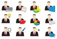 Businessman Color Vector Icon Set