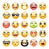 Dessin animé Expression faciale sourire Icons Set
