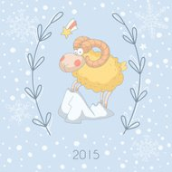 Greeting card with a sheep (Chinese New Year 2015)